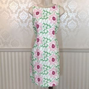 Talbots Floral Embroidered Linen Sheath Dress